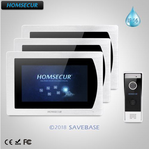 HOMSECUR 7 Wired Hands-free Video&Audio Home Intercom Aluminium Alloy Camera Wide Angle Touch Screen Monitor