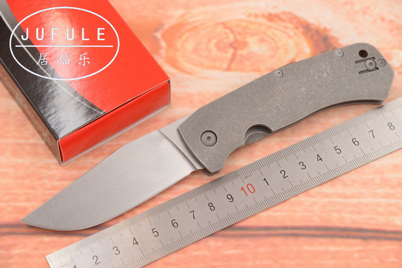 JUFULE Made C186 Folding D2 Blade Titanium Handle Copper washer Tactical Camping Hunting Survival Outdoor EDC Tool kitchen Knife jufule doc folding d2 blade titanium g10 bearing flipper tactical kitchen knife outdoor survival camping pocket hunt edc tool