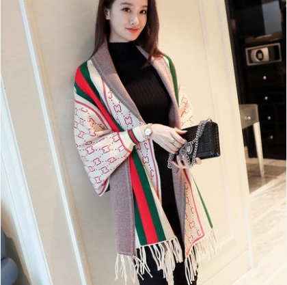 b5b8d513f Fashion 2018 Winter Women Casual Knitted Cardigan Female Long Sleeve  Oversized sweater Jacket Loose Poncho Shawl-in Cardigans from Women s  Clothing   ...