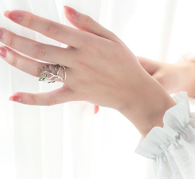 Mode 925 Sterling Silber Schmuck Grüner Zweig Baum/olive Von Baum Lange Ring Einstellbare Gtlj972 Neueste Technik Vintage Echt Ringe