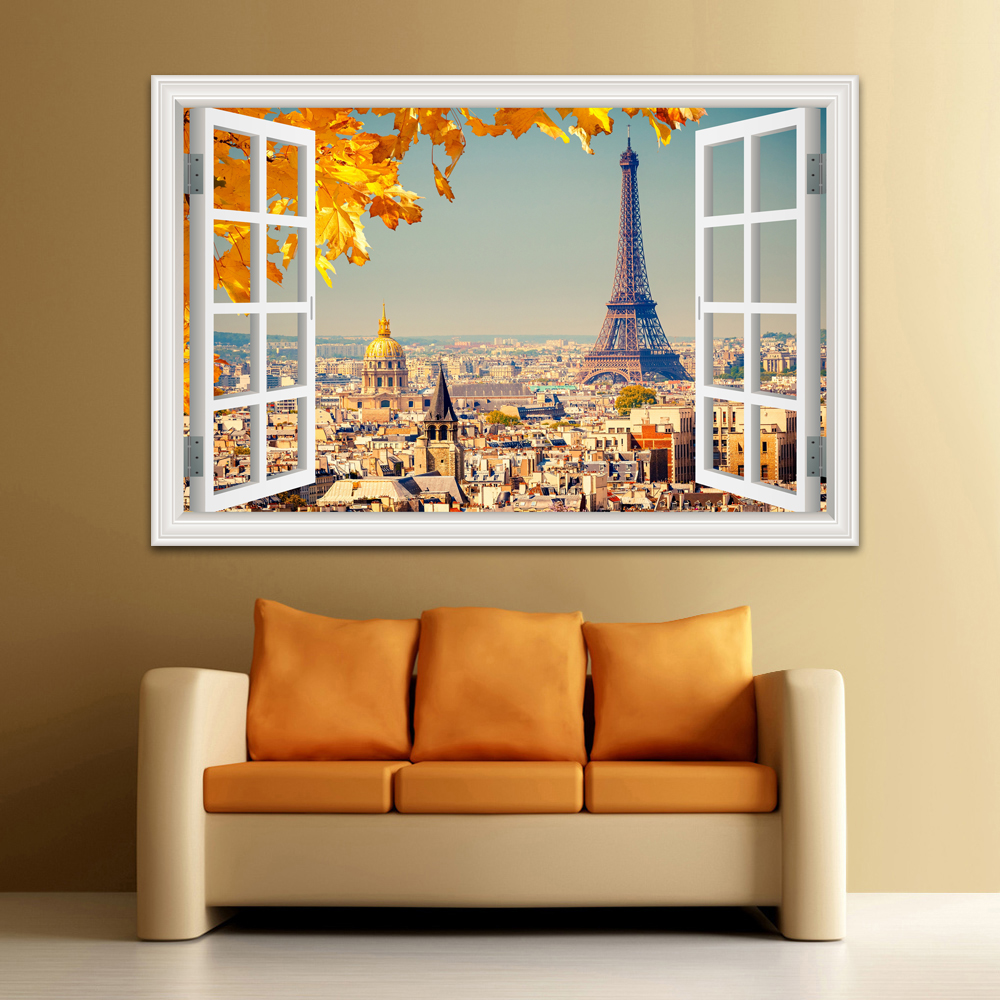 3D Window View Wall Sticker Sunset Landscape City Sticker