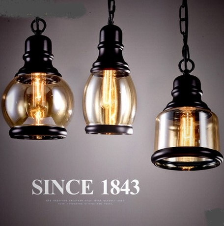 Loft Style Iron Glass Pendant Lights Fixtures Vintage Industrial Lighting For Dining Room Bar Hanging Lamp Lamparas Colgantes edison inustrial loft vintage amber glass basin pendant lights lamp for cafe bar hall bedroom club dining room droplight decor