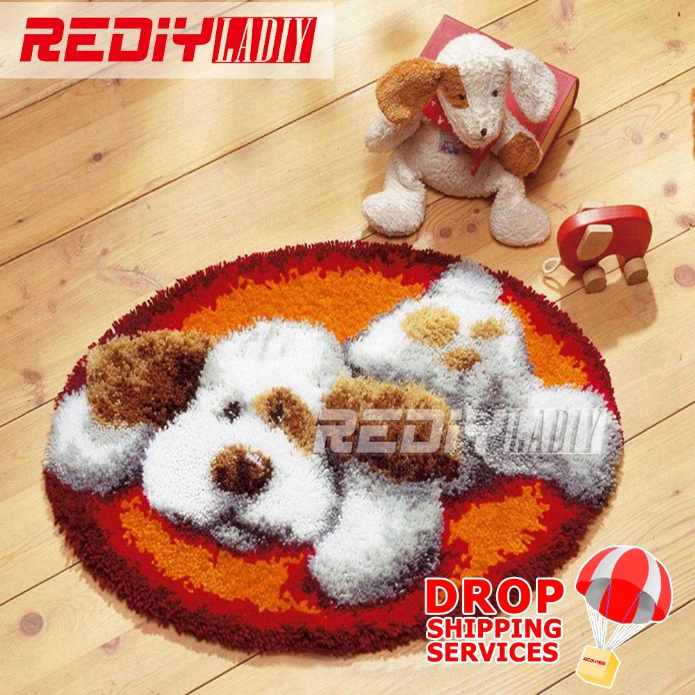 Latch Hook Rug Kits DIY Needlework Unfinished Crocheting Rug Yarn Cushion Mat White Dog at Rest 3D Embroidery Decorative CarpetLatch Hook Rug Kits DIY Needlework Unfinished Crocheting Rug Yarn Cushion Mat White Dog at Rest 3D Embroidery Decorative Carpet