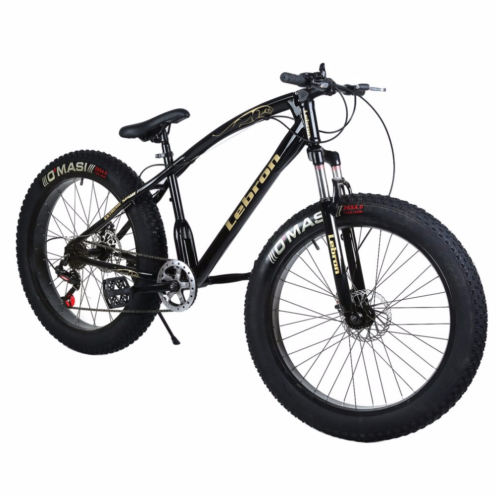 26*21 Inch 7 Speed Snow Bike Double Disc Braking System Bicycle Steel Frame Mountain Bike Outdoor Sports Exercise Bike 26 inch 7 21 27speed cross country mountain bike aluminum frame snow beach 4 0 oversized bicycle tire dirt bikes for men