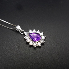 LANZYO 925 sterling silver Amethyst Pendants fashion gift for women jewelry necklaces pendants fine water drop  z0608010agz