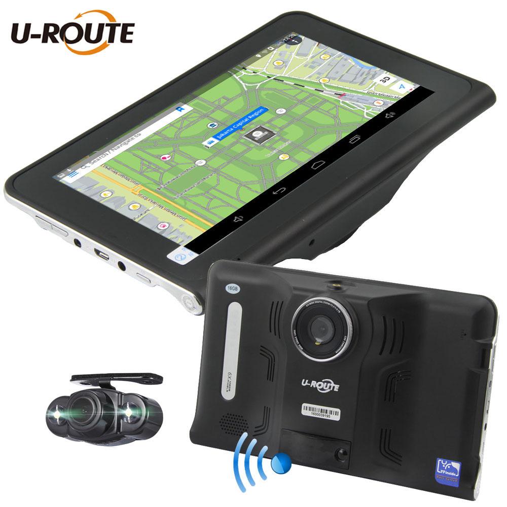 """Prix pour Wifi Android 4.4 Véhicule Voiture DVR Caméra GPS Détecteur De Radar De Navigation DashCam Double Caméras 16 GB ROM 7 """"écran Plein HD1080P FM"""