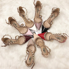 Free shipping fashion women Pumps lady nude patent Pointy toe s-strappy spikes ankle high heels shoes bride Stiletto heeled цены онлайн