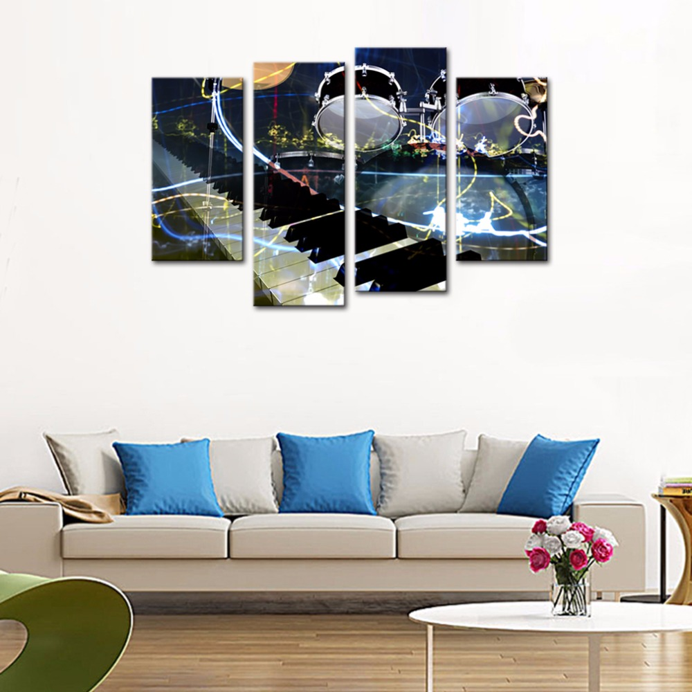4 Panels Modern Canvas Painting Jazz Instruments Musical Giclee Wall Art For Living Room Hoom