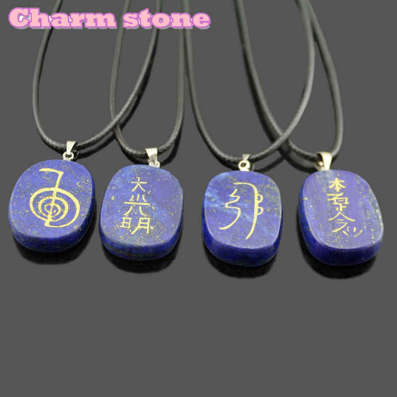 2019 Hot Sale Natural crystal gem necklace Lapis Lazuli A complete set of Energy stone pendant reiki chakras choker necklace