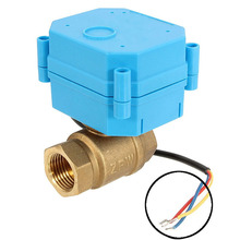 "Best Price DN20 G3/4"" DC12V 3-wire Control Brass Motorized Ball Valve Electrical Ball Valve Blue+Bras Durable Quality"