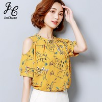 Summer Open Shoulder Tops Floral Printed Shirts Fashion O Neck Cold Shoulder Chiffon Blouse For Ladies