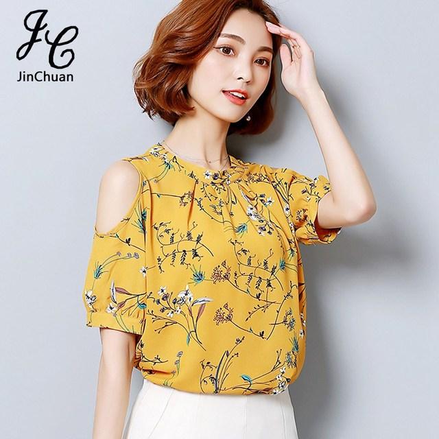 8abbcde2f1531 Summer Open Shoulder Tops Floral Printed Shirts Fashion O Neck Cold Shoulder  Chiffon Blouse For Ladies Elegant Women Blusas 2017