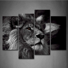 Pictures HD Vintage Home Decor 4 Pieces/Set Lion Head Portrait Framework Paintings On Canvas Posters And Prints On The Wall(China)