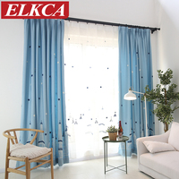 Castle Embroidered Blue Curtains For Children Faux Linen Baby Room Curtains For Living Room Cartoon Window