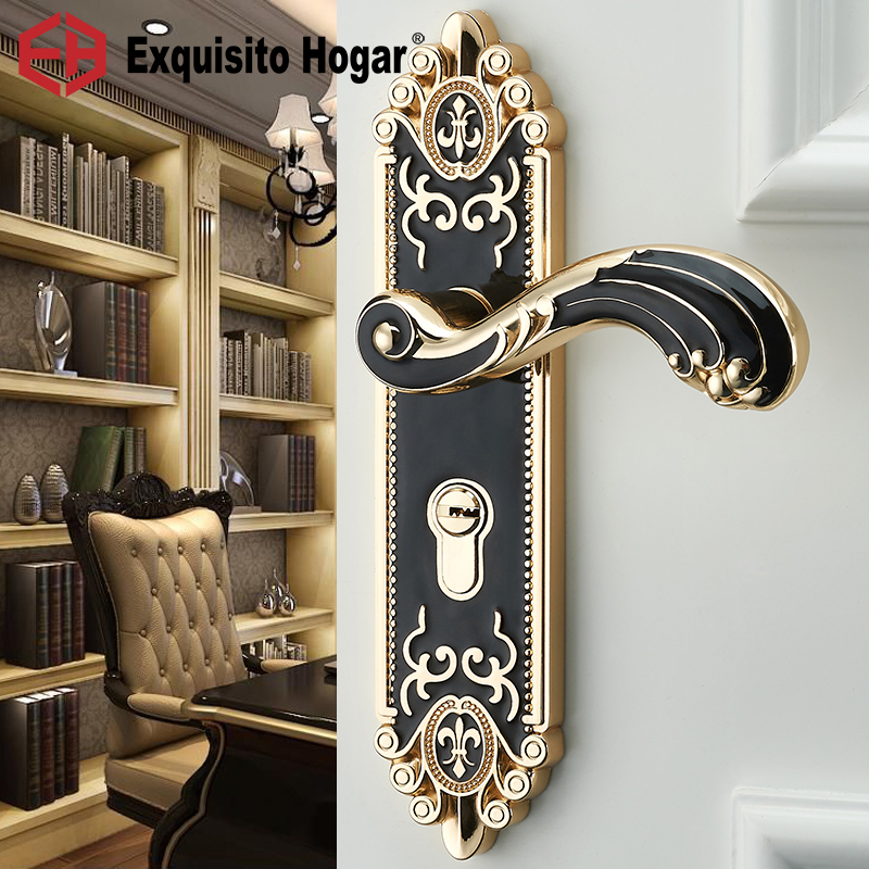 Indoor Bedroom Room Door Handle  Lock General Type European Pattern Silent Luxurious Solid Wood  Door LockIndoor Bedroom Room Door Handle  Lock General Type European Pattern Silent Luxurious Solid Wood  Door Lock