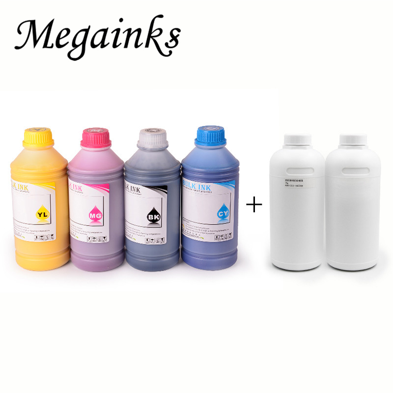 6* 500ML Digital Textile Ink for Roland Mimaki Mutoh DX3 DX4 DX5 DX6 DX7 Head A2 A3 A4 Dtg Flatbed Printer BK White Pretreatment dx3 dx4 dx5 dx7 1390 carriage printer parts