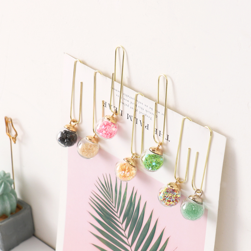 TUTU 5pcs/box Glass Ball Paper Clips De Papel Notes DIY Bookmark Metal Binder Clips Fish Clips Notes Letter Paper Clips H0164