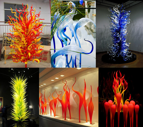 Colored glass sculpture decor