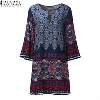 2017 Vestido ZANZEA Women Round Neck 3 4 Sleeve Long Tops Blusas Elegant Floral Printed Casual