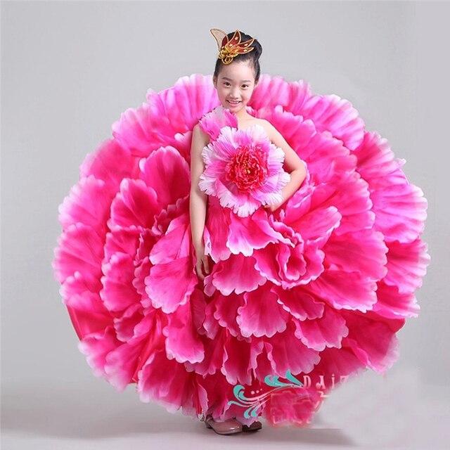 Espagne danse jupe pétale jupe enfants Performance de scène Service Costumes pour enfants filles ouverture danse grande jupe DL2885