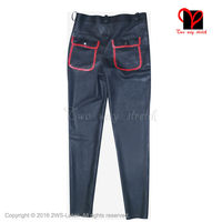 Black And Red Latex Jeans Rubber Pants With Pockets Military Trousers Front Zipper Fly Buttons Bottoms