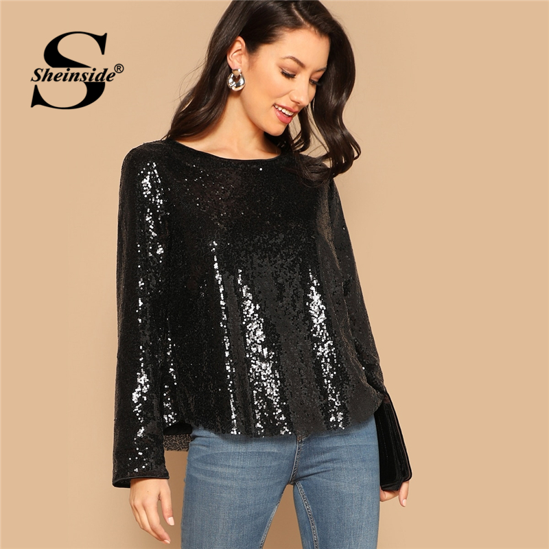 Sheinside Black Curved Hem Sequin Top Women   Blouse     Shirt   2019 Autumn Ladies Long Sleeve   Shirts   OL Work Womens Tops And   Blouses