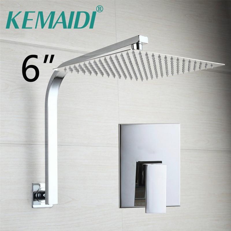 KEMAIDI Brass Rainfall Waterfall Shower Head Rain Wall Mounted Bathtua Shower Faucets Set Shower System Chrome Mixer Taps
