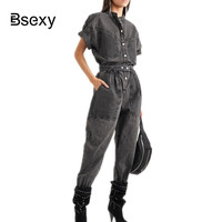 Runway rompers Denim womens jumpsuit 2019 Streetwear Women Overalls Loose Batwing Sleeve Long Black jeans Jumpsuits