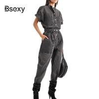 Runway rompers Denim womens jumpsuit 2019 Streetwear Women Overalls Loose Batwing Sleeve Long Black jeans Jumpsuits