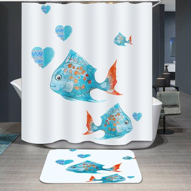 Thicken Printing Waterproof Mildewproof Showcurtain Deep Sea Tropical Fish Cartoon Pattern Bathroom Shower Curtain Customizable