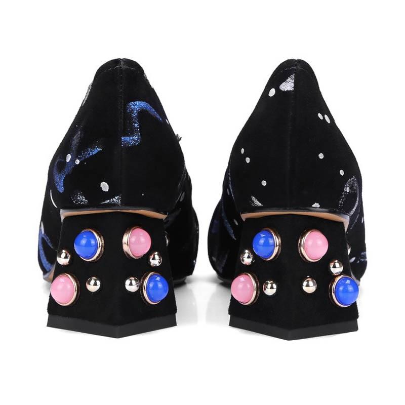 Mit Slip New Leder Retro Floral Muster Frauen On M Perlen Heels Schuhe Luxus 2019 Echtes Fashion ZiTukwOPX