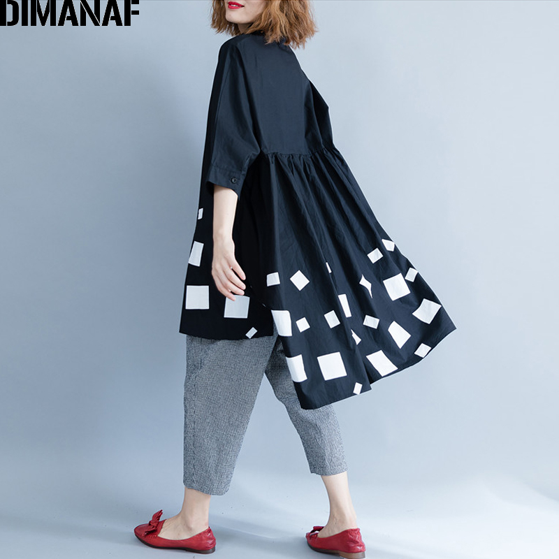 DIMANAF Women Blouse Shirts Long Sleeve Cotton Top Autumn Femme Lady Large Loose Clothing Print Spliced Pleated Plus Size Black 3
