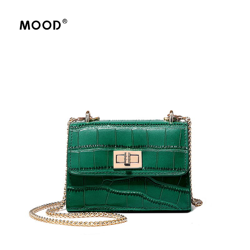 MOOD Split leather handbag Crocodile grain cowhide Fashion one shoulder high quality mini bag character lock Free shipping yuanyu new 2017 new hot free shipping crocodile women handbag single shoulder bag thailand crocodile leather bag shell package