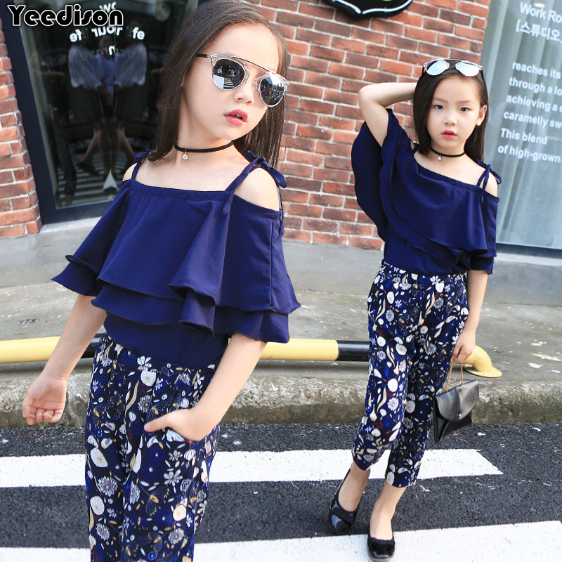 Fashion Summer Girls Clothing Set 2018 Children Off Shoulder Tops Floral Pants 2Pcs Kids Outfits Big Girl Clothes 5 6 7 8 Years 2pcs set summer baby girl clothes set fashion sleeveless white tops casual long pants children girls clothing sets