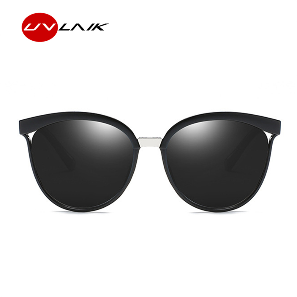 UVLAIK Vintage Cat Eye Sunglasses Women High Quality Brand Designer Fashion Sun glasses for Men Retro Mirror Eyewear UV400 stylish cut out street fashion two color match cat eye mirrored sunglasses for women