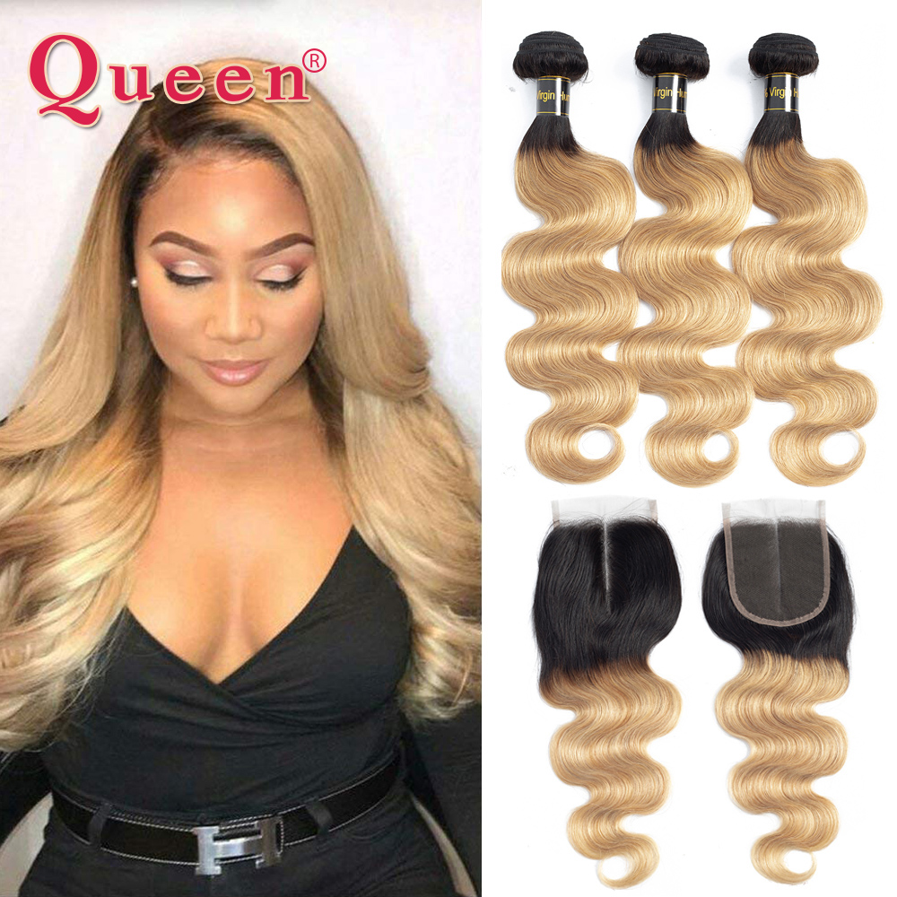 Queen Hair Products Human Hair Bundles With Closure 3 Bundles With Lace Closure 1B 27 Ombre