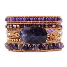 Подлинный Аметист кожа 5 нитей обруча браслет Целебный Камень ручной работы браслеты для женщин натуральный камень кожаный браслет с бисером