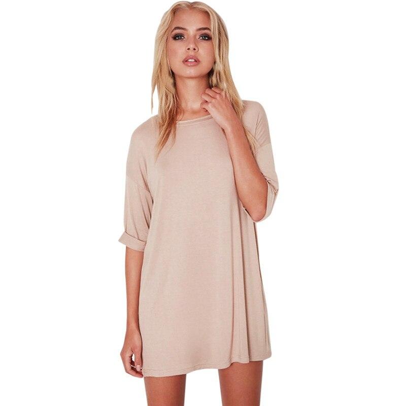 snowshine YLI Women Loose Pullover Solid Dress Half Sleeve O-Neck Casual Mini Dress free shipping