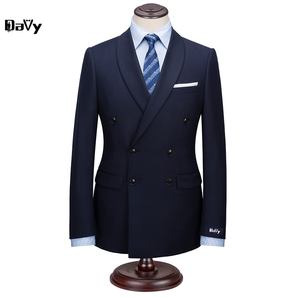 Custom Made Suit for man 2pieces Suit by hand Men Navy Wool Business slim classical men