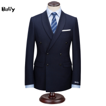 Custom Made Suit for man 2pieces Suit by hand Men Navy Wool Business slim classical men For Wedding Grooms suit man