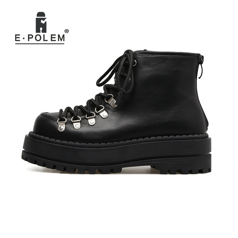 Retro British Style Lace Up Rivets Martin Boots Round Toe Thick Sole Locomotive Boots Suede Leather Zipper Boots round toe suede lace up mens boots