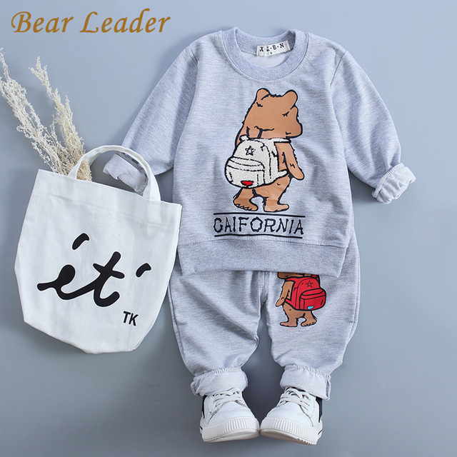 Líder del oso Bebé Ropa de 2016 del Otoño Del Bebé Que Arropan La Manga Larga Oso de la Litera de Impresión t-shirt + Casuales pantalones 2 Unids Ropa de Bebé