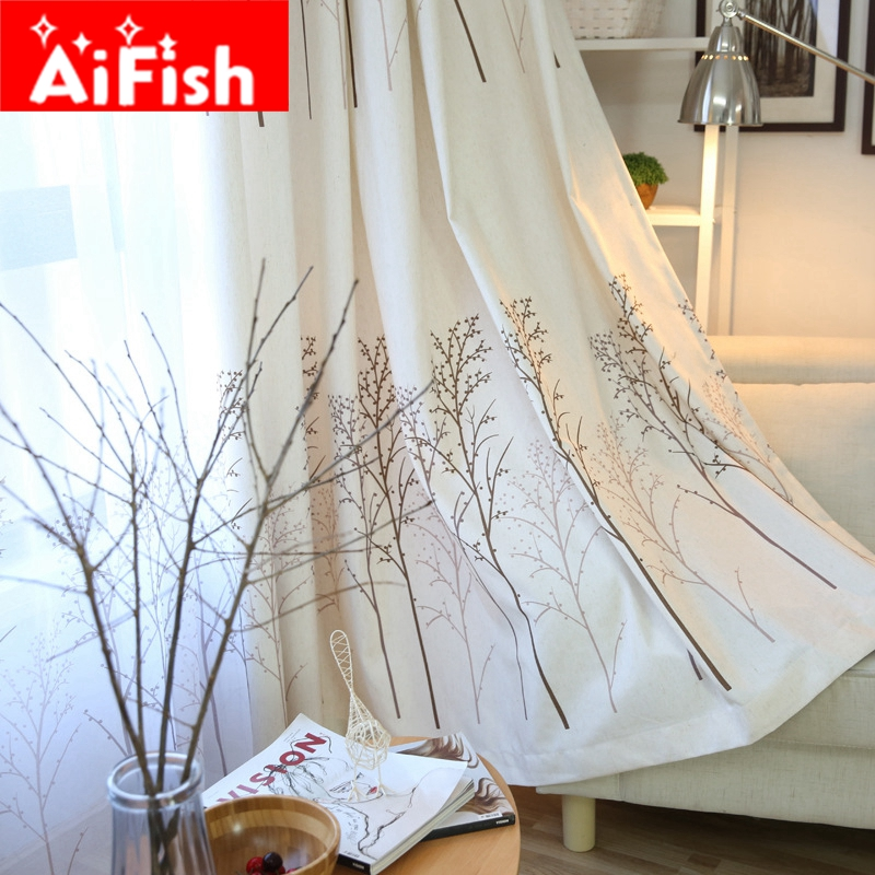 American Country Print Rich Tree Curtains For Living Room Window Treatments  Linen Curtain Fabrics For Bedroom