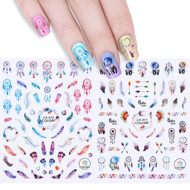 Dreamcatcher 3d Nail Stickers Feather Arrow Nail Art Adhesive