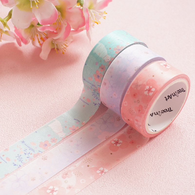 1.5cm Maiden Heart Flower Washi Tape DIY Scrapbooking Sticker Label Masking Tape School Office Supply Gift Stationery