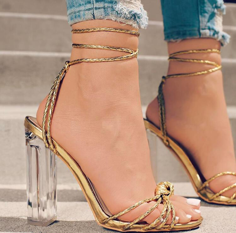 Summer Hot Transparent PVC High Heels Shoes  Sexy Fashion Slip On Pointed ToeCross-tied Lace-up Women Pumps 2017 hot sale fashion new women shoes pointed toe transparent pvc party shoes women casual high heels pumps shoes 596