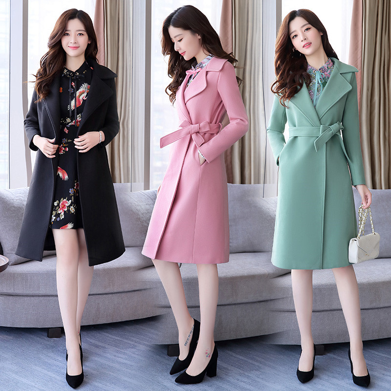 Two pieces sets 2018 Spring Autumn Women Long Sleeve trench+floral dress Lady korean style sweet trench coat suits