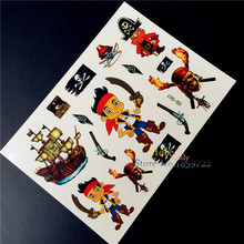 Pirates of The Caribbean Temporary Tattoo Stickers, Child Waterproof Fake Flash Tattoo Paste Anchor Harajuku Kids Body Art Arm