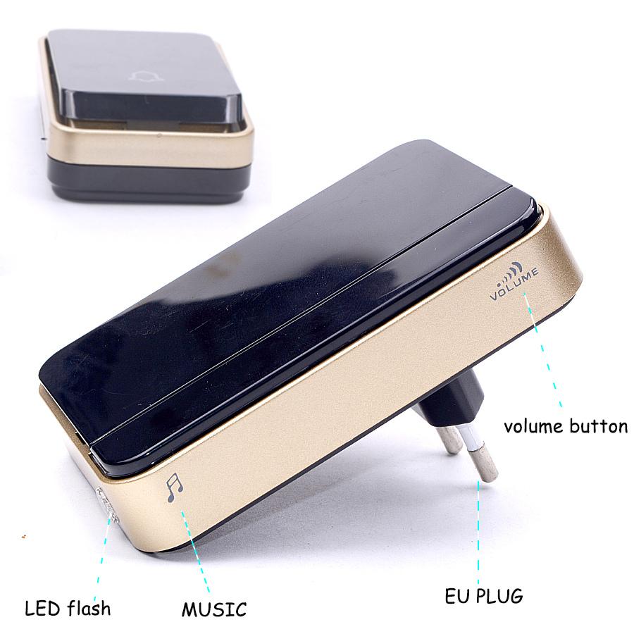 YIFAN New self powered Wireless Doorbell NO battery Waterproof 150M range EU Plug 110-220V smart Door Bell 1 button 1 2 receiver 5