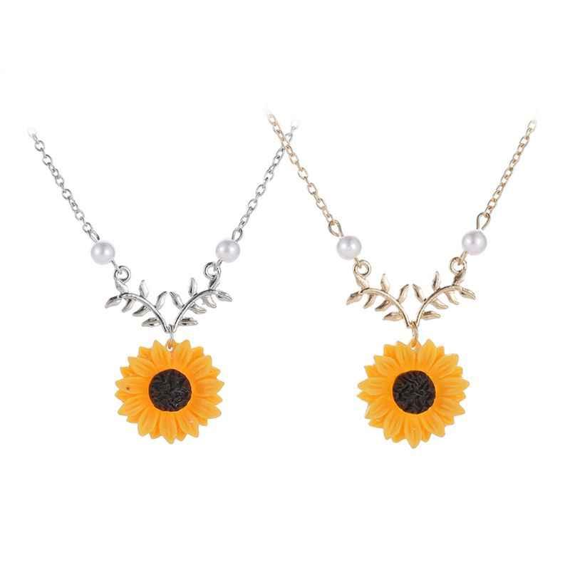 สร้อยคอแฟชั่นสีส้ม Sunflower Leaf ทำด้วยมือจี้สร้อยคอ Choker แฟชั่นเครื่องประดับ